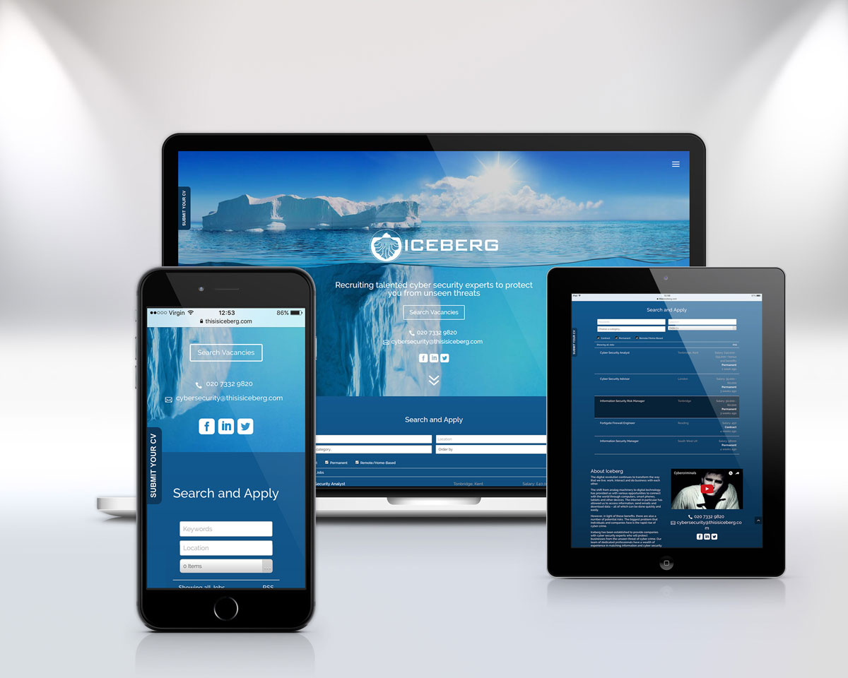 One of Octopus' web design projects - Iceberg Cyber Recruitment