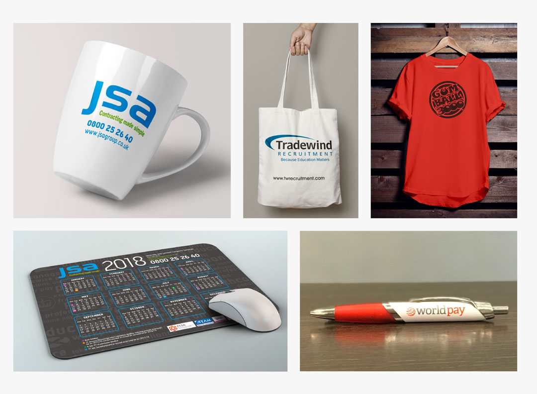 A montage of Octopus' promotional design items